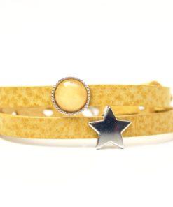Wickelarmband aus Leder in senfgelb mit Stern und gelber Polaris Schieberperlen