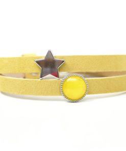 Wickelarmband aus Leder in gelb mit Stern und gelber Polaris Schieberperlen