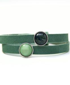 Lederarmband Wickelarmband dunkelgrün