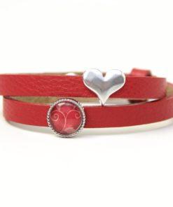 Wickelarmband aus Leder in rot mit Stern und roter Schieberperle