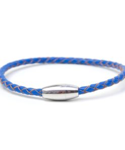 Blaues Lederarmband mit Edelstahl Magnetverschluss