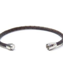 Braunes Lederarmband mit Magnetverschluss