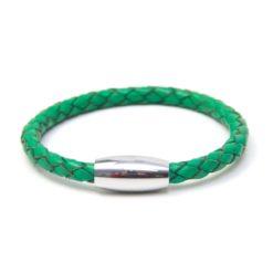 Grünes Lederarmband mit Edelstahl Magnetverschluss