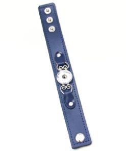 Blaues trachten Druckknopf Lederarmband für 16mm Druckknöpfe