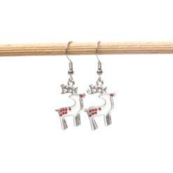 Weihnachtliche Reindeer Ohrhänger in weiß und rot