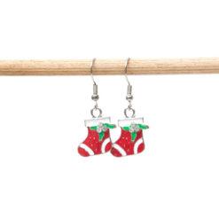 Weihnachtliche Stiefel Nikolaussocken Ohrhänger in weiß und rot