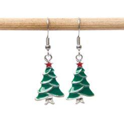 Weihnachtsbaum Ohrhänger in grün und rot