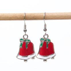 Weihnachtliche Glocken Ohrhänger in rot und weiß