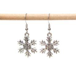 Weihnachtliche Schneeflocken Stern Ohrhänger - Edelstahl