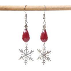 Weihnachtliche Ohrhänger mit Glaskristalltropfen in rot und Schneeflocke - Edelstahl