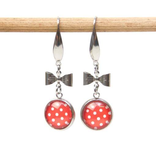 Edelstahl Ohrhänger mit kleiner Schleife rot mit weißen Punkten