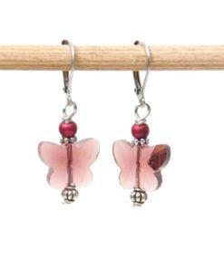 Edelstahl Ohrringe mit zauberhaften Schmetterlings Kristall