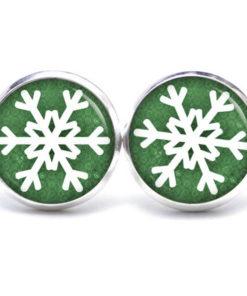 Druckknopf / Ohrstecker / Ohrhänger Schneeflocke grün weiß