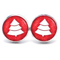 Druckknopf / Ohrstecker / Ohrhänger Weihnachtsbaum in rot weiß