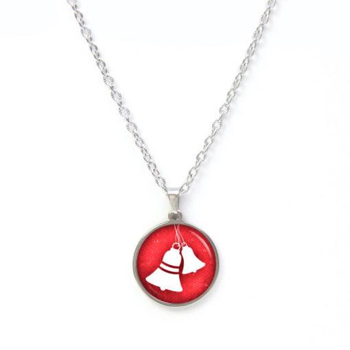 Druckknopf / Ohrstecker / Ohrhänger weihnachtliche Glocken rot weiß