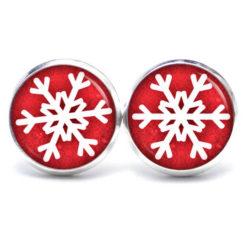 Druckknopf / Ohrstecker / Ohrhänger Schneeflocke rot weiß