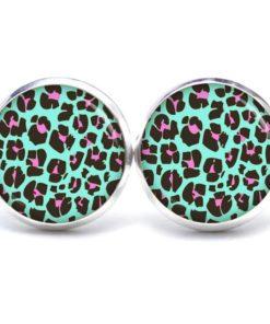 Druckknopf / Ohrstecker / Ohrhänger mit Leoparden Muster Türkis Pink
