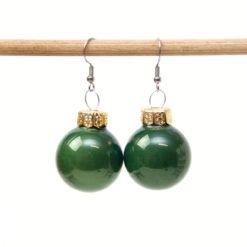 Weihnachtliche Christbaumkugel Ohrhänger Dunkelgrün - Edelstahl