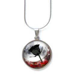 Edelstahl Kette schwarze Rose vor Vollmond - verschiedene Längen