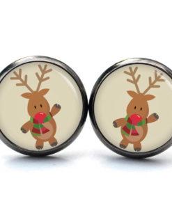 Weihnachtliche Ohrstecker mit einem Elch Rudi Reindeer