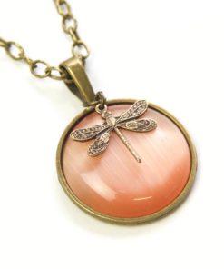 Vintage Halskette pfirsich lachs Libelle - Bronze oder Edelstahl