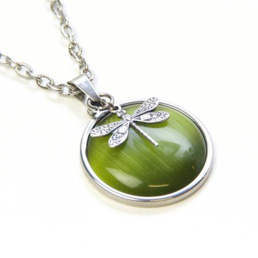 Vintage Halskette Libelle grün