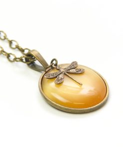 Vintage Halskette sonnengelb Libelle - Bronze oder Edelstahl