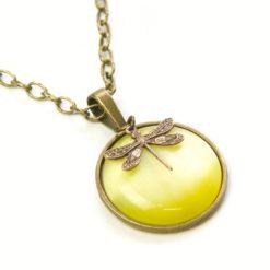 Vintage Halskette gelb mit Libelle - Bronze oder Edelstahl
