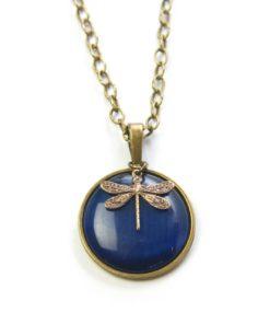 Vintage Halskette in blau mit Libelle in Bronze