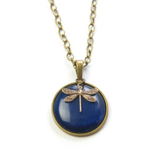 Vintage Halskette in dunkelblau mit Libelle - Bronze oder Edelstahl