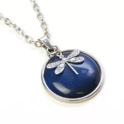Vintage Halskette in blau mit Libelle