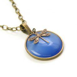 Vintage Halskette in blau mit Libelle - Bronze oder Edelstahl