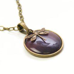 Vintage Halskette in violett mit Libelle - Bronze oder Edelstahl