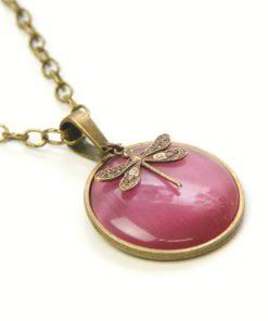 Vintage Halskette in pink mit Libelle - Bronze oder Edelstahl