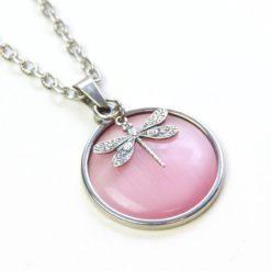 Vintage Halskette in rosa mit Libelle - Bronze oder Edelstahl