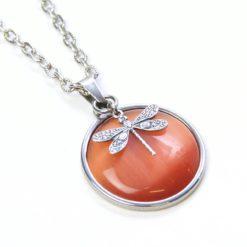 Vintage Halskette in orange mit Libelle