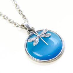 Vintage Halskette in türkisblau mit Libelle