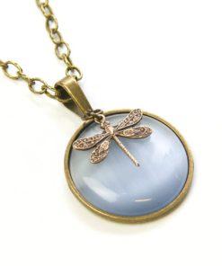 Vintage Halskette in grau mit Libelle - Bronze oder Edelstahl
