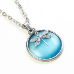 Vintage Halskette in hellblau mit Libelle
