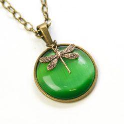 Vintage Halskette in grün mit Libelle