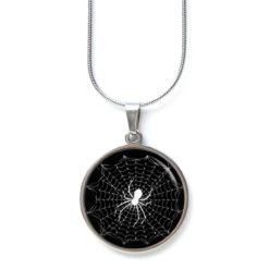 Edelstahl Kette großes Spinnennetz mit Spinne schwarz weiß
