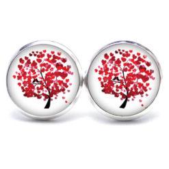 Druckknopf / Ohrstecker / Ohrhänger großer roter Baum mit Herzen Valentinstag
