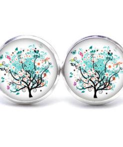 Druckknopf / Ohrstecker / Ohrhänger türkiser Baum mit Blumen und Schmetterling