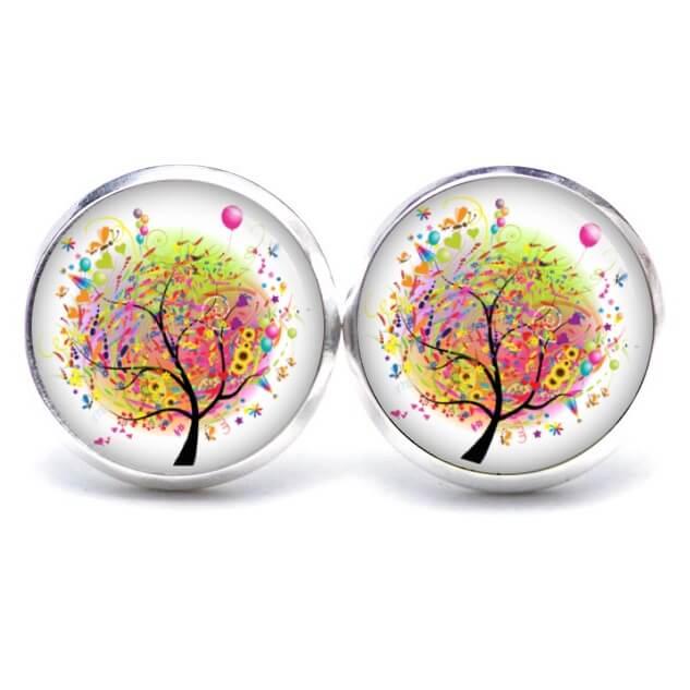 Druckknopf / Ohrstecker / Ohrhänger bunter Geburtstags Baum mit Luftballon