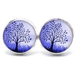 Druckknopf / Ohrstecker / Ohrhänger großer Baum in violett