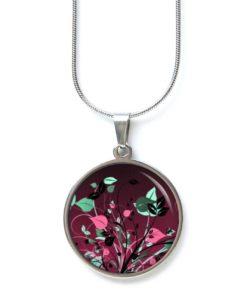Edelstahl Kette romantisch verspielte Blumen Wiese in rosa grün bordeaux