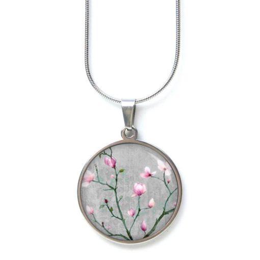 Edelstahl Kette zauberhafte Kirschblüten in grau und rosa