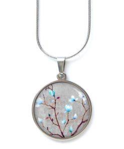Edelstahl Kette zauberhafte Kirschblüten in grau und hellblau