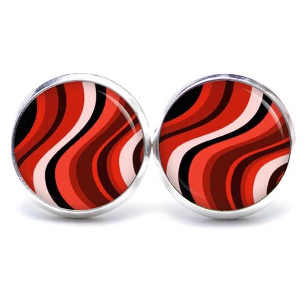 Druckknopf / Ohrstecker / Ohrhänger 60er Jahre Retro Muster rot rosa schwarz