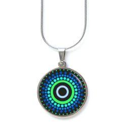Edelstahl Kette blau grün gemustert Punkte Mandala